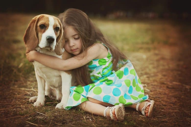 Little girl hugging her Beagle