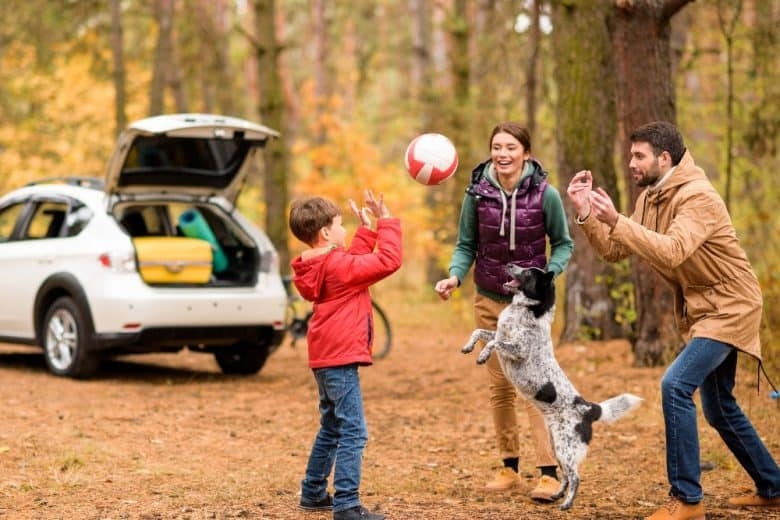 Happy family with their dog playing a ball