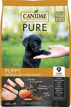 CANIDAE Grain-Free PURE Puppy Limited Ingredient Chicken, Lentil & Whole Egg