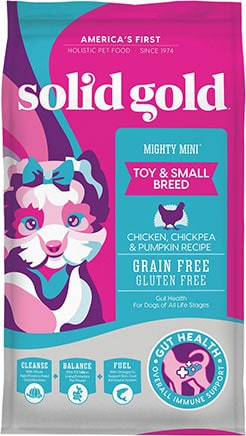 Solid Gold Mighty Mini Gut Health Small & Toy Breed Puppy Grain-Free Chicken, Chickpea & Pumpkin Dry Dog Food