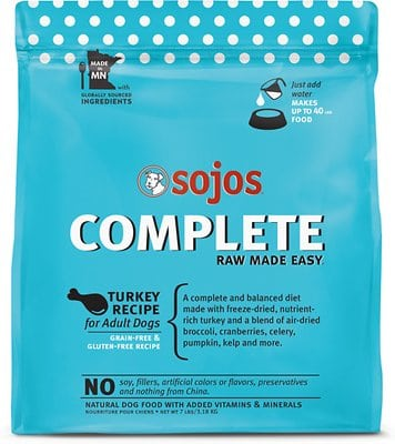 Sojos Complete Turkey Recipe Adult Grain-Free Freeze-Dried Dehydrated Dog Food