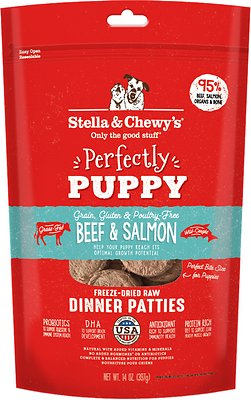 Stella & Chewy's Perfectly Puppy Beef & Salmon Dinner Patties Freeze-Dried Raw Dog Food