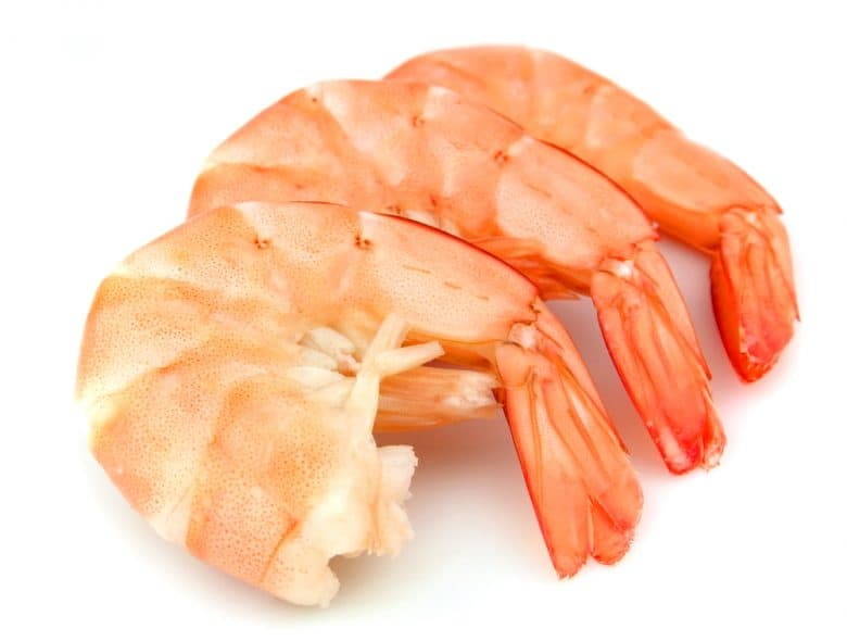cooked shrimp on a white background