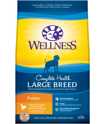 Wellness Large Breed Complete Health Puppy Deboned Chicken, Brown Rice & Salmon Meal Recipe