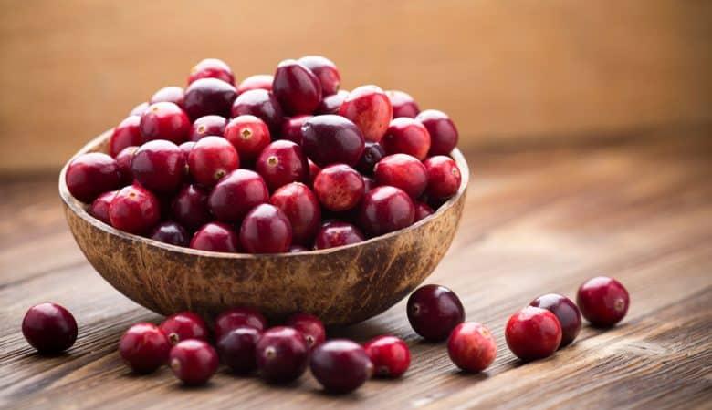Cranberries in coconut bowl
